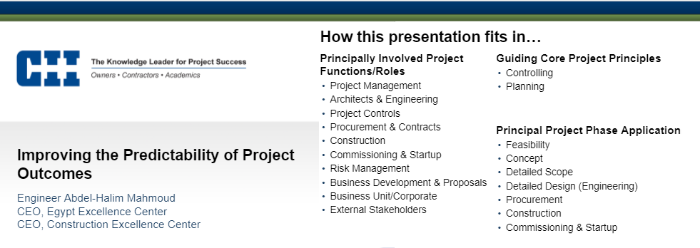 The Project Predictability Course provided by the Construction Excellence Center, Egypt